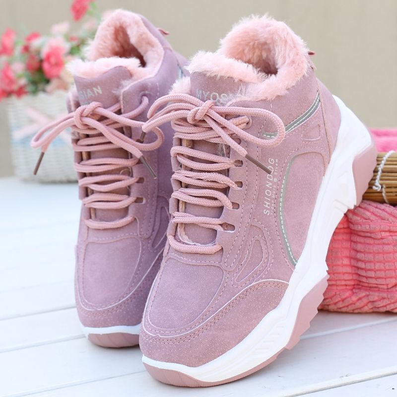 加绒加厚棉鞋冬季新款运动鞋女式棉鞋韩版平底鞋保暖学生鞋休闲�y鞋�
