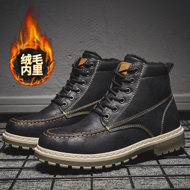 加绒男鞋马丁靴男加厚保暖秋冬季男士中帮雪地靴高帮工装休闲鞋男