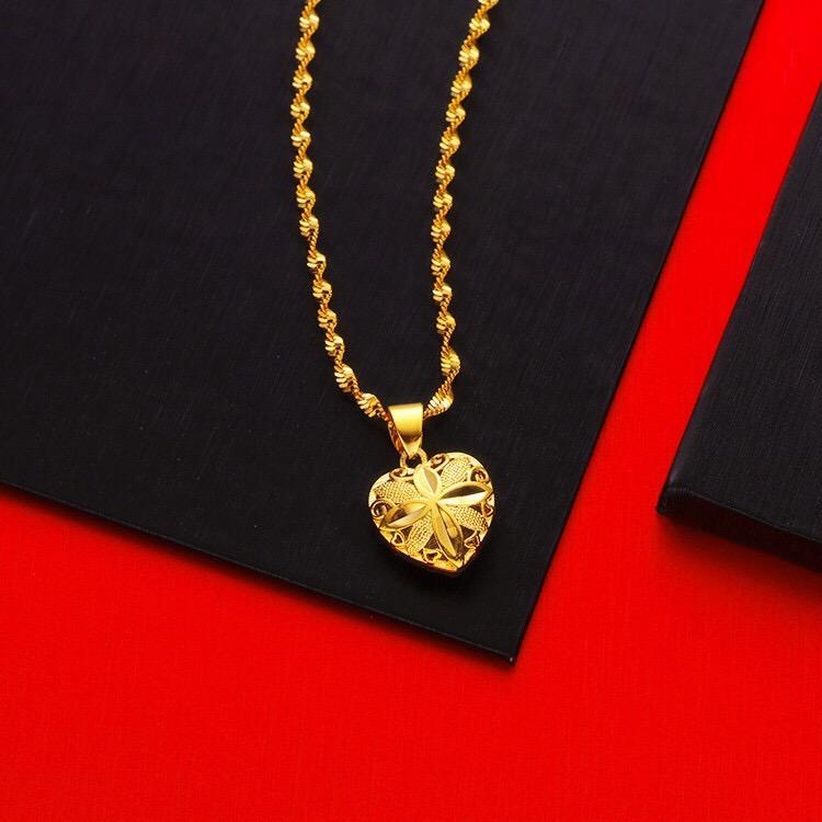 时尚流行款女士黄金色项链锁骨链运转珠项链 女款首饰 富贵花吊坠