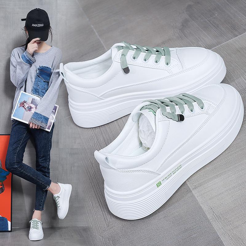 女士秋季厚底鞋子休闲鞋白色板鞋运动鞋女鞋