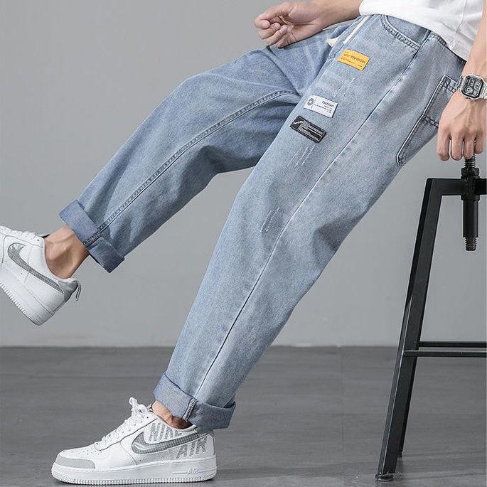 裤子男夏季薄款牛仔裤男宽松直筒九分裤学生韩版潮流阔腿男裤