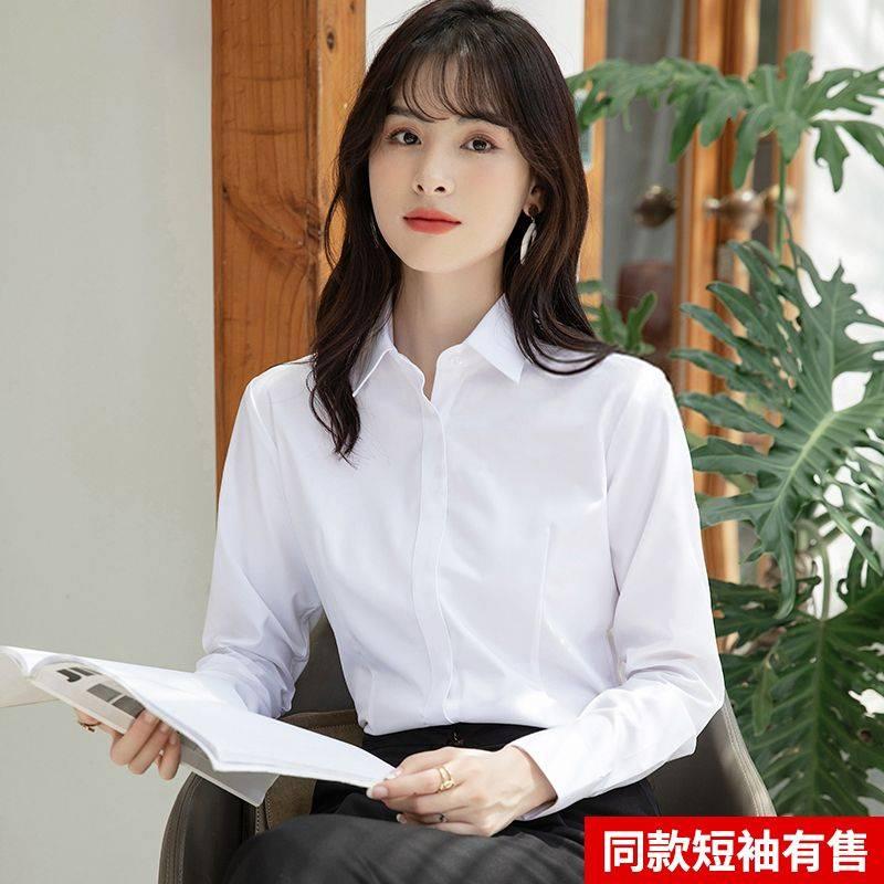 2021春夏季新款女士短袖白衬衫方领正装职业工作服短袖衬衣上衣寸