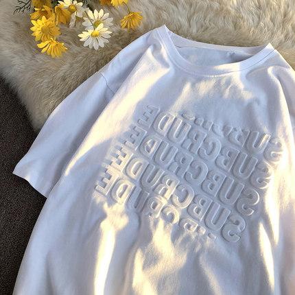 上衣纯棉白色T恤女短袖夏装字母图案短袖潮券后69元(领100元券)
