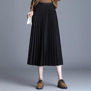 黑色高腰百搭a字裙显瘦百褶裙