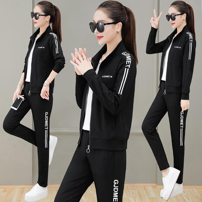 轻奢棉质时尚休闲卫衣三件套洋气运动套装女春秋季2021年新款运动