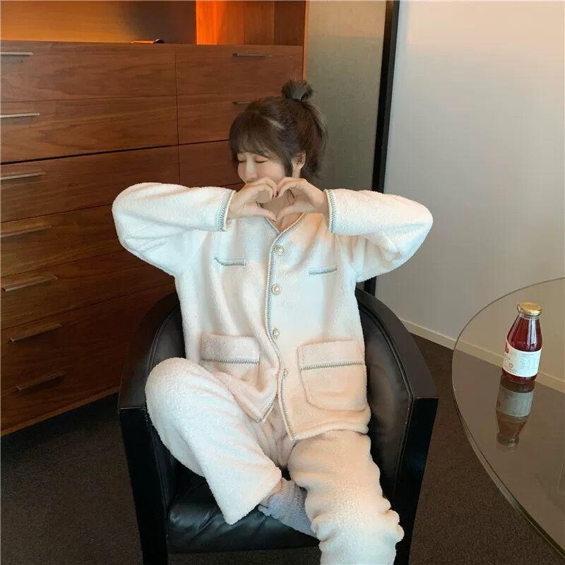 二次/甜美睡衣套装女秋冬季韩版加厚学生