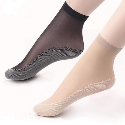 丝袜女薄款短夏季水晶防勾丝棉底防滑袜子隐形船袜短袜中筒袜