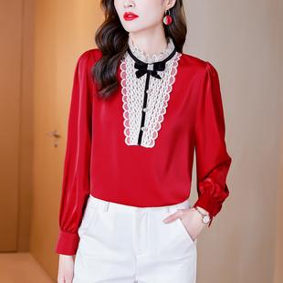 【专柜品质】红色打底春装内搭雪纺衬衫女上