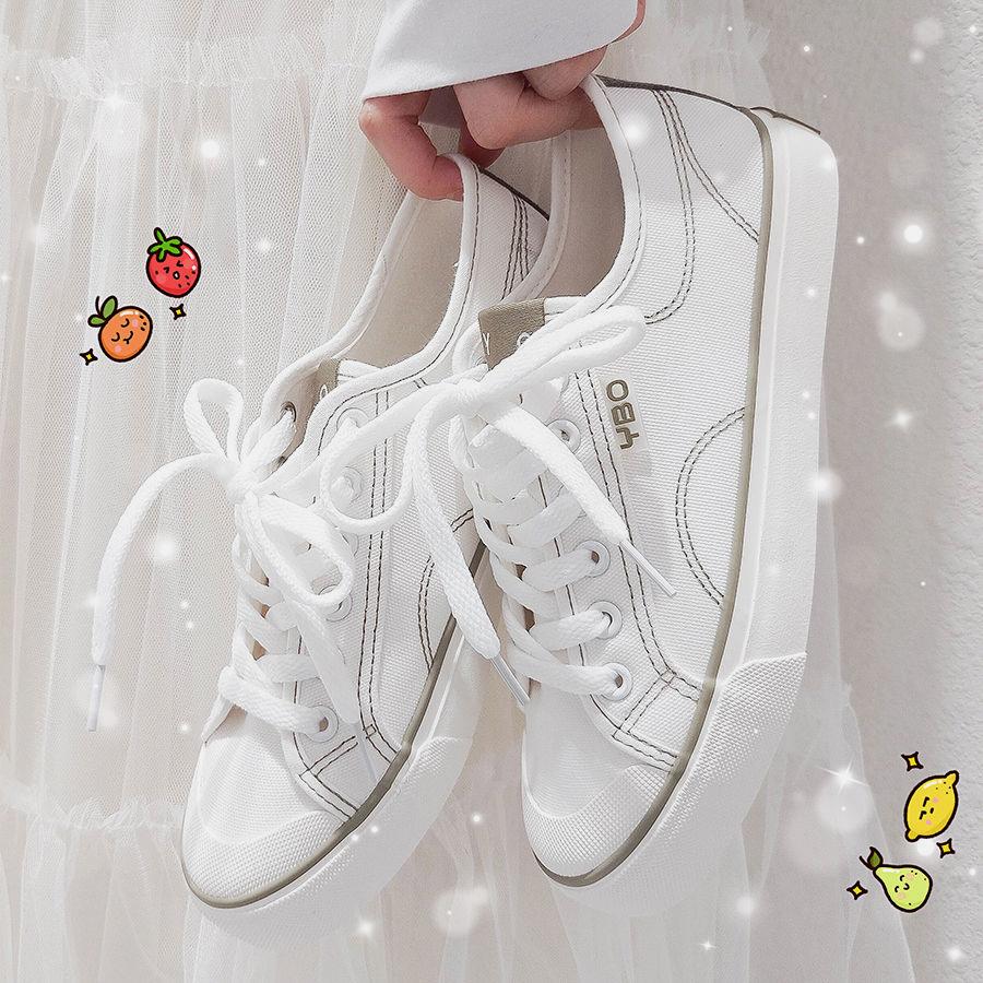 小白鞋女ins帆布鞋2021春秋新款韩版ulzzang百搭本山风学生板鞋潮