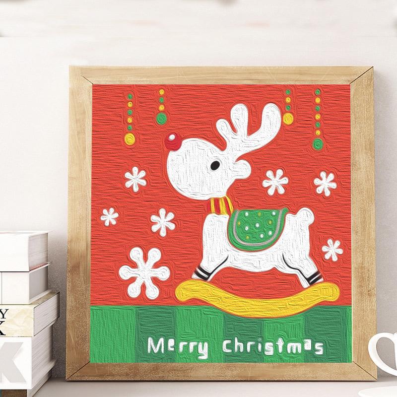 diy数字油彩画小象儿童油画填色小尺寸幼儿园手工绘涂色画填充