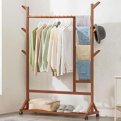 衣帽架落地挂衣架晾衣折叠室内实木简易卧室家用衣服置物柜子