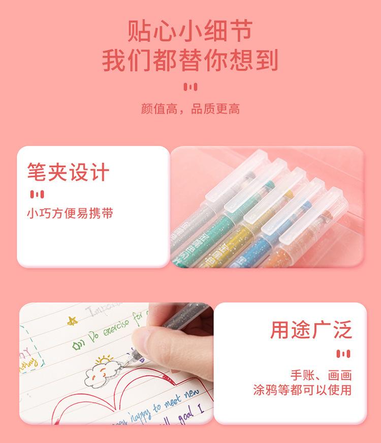 中國代購 中國批發-ibuy99 珠光彩色百通外销儿童闪光笔学生闪光啫喱笔标记荧光笔12色涂色笔