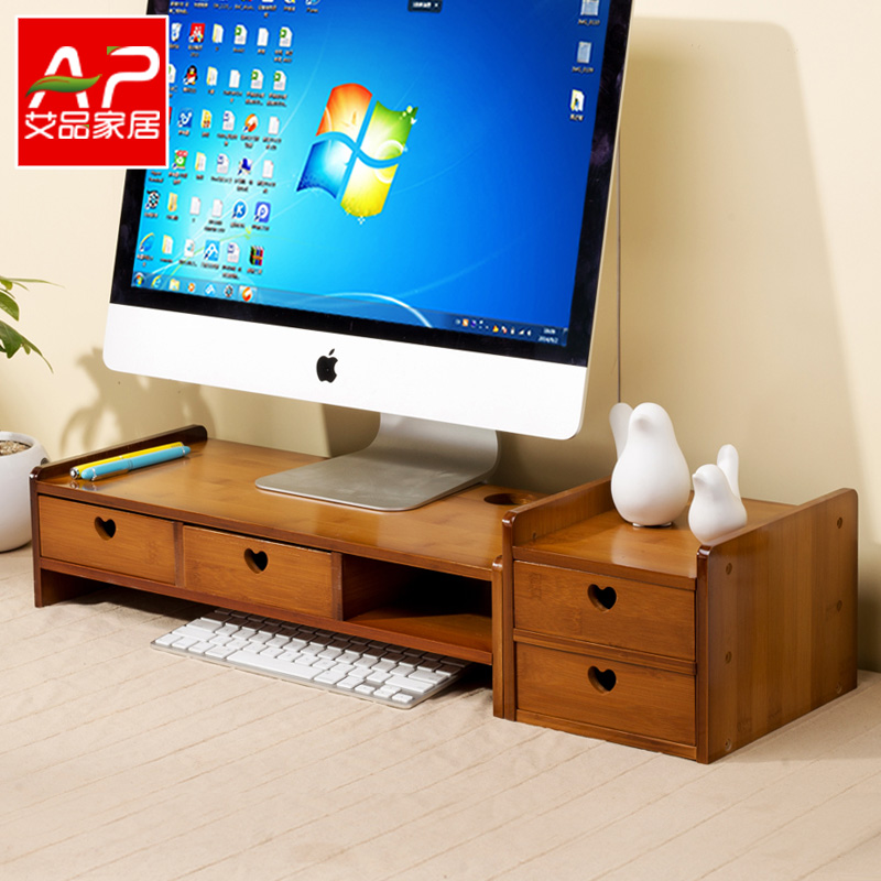 Bamboo Desktop Pad Computer Monitor Increased Shelf Base Bracket Bracket Office  Desktop Storage Rack