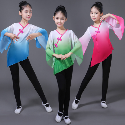 Girls Folk Dance Dress Children's classical dance practice clothes new girls sleeves Chinese style dance clothes national dance Jinghong dance costumes