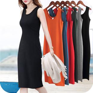 Чёрный жилет платье поддержка длина безрукавный строп платье женщины весна лето 2019 новый одежда