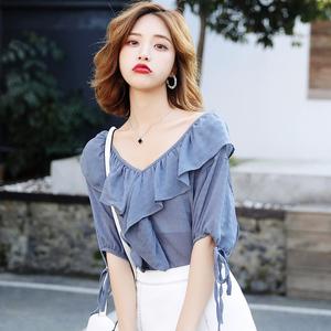 阳光萝莎夏季洋气小衫女短袖宽松