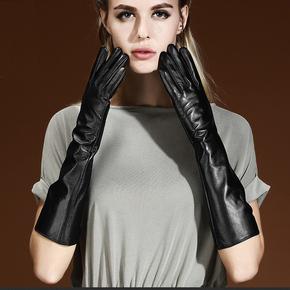 女士加长款真皮加绒手套触摸屏