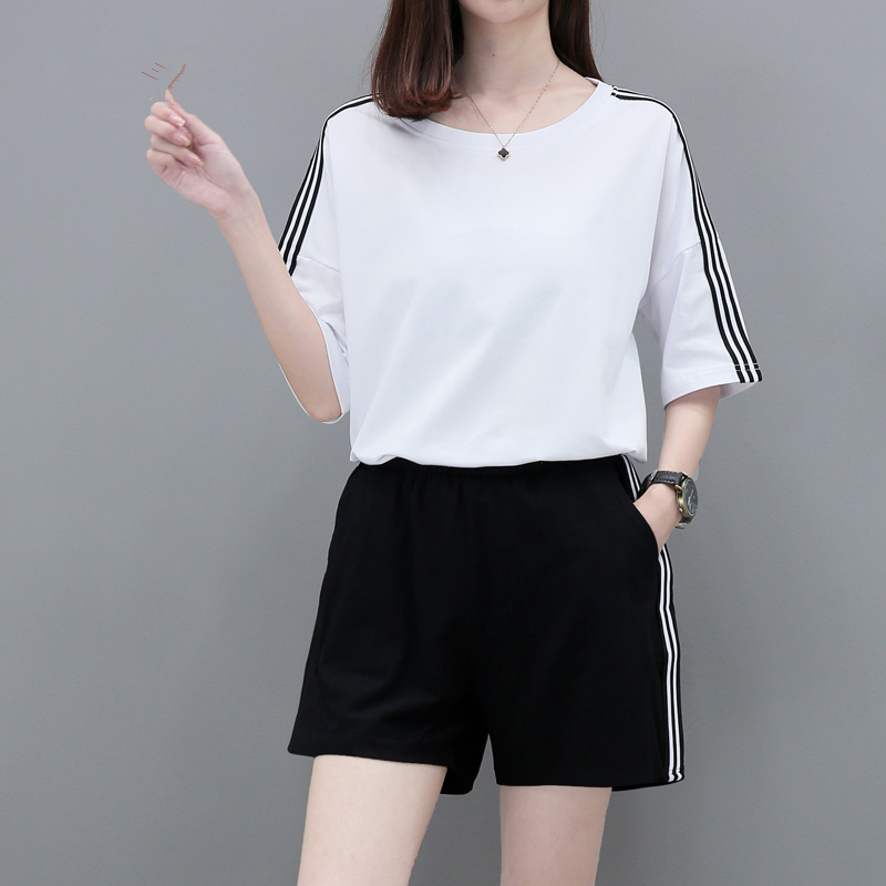 Sports suit summer fashion summer summer casual two-piece sportswear shorts short-sleeved women 2018 new wave