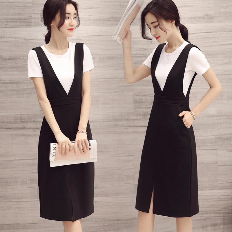 2019夏季新韩版V领连衣裙裙子裙中长背带包臀裙