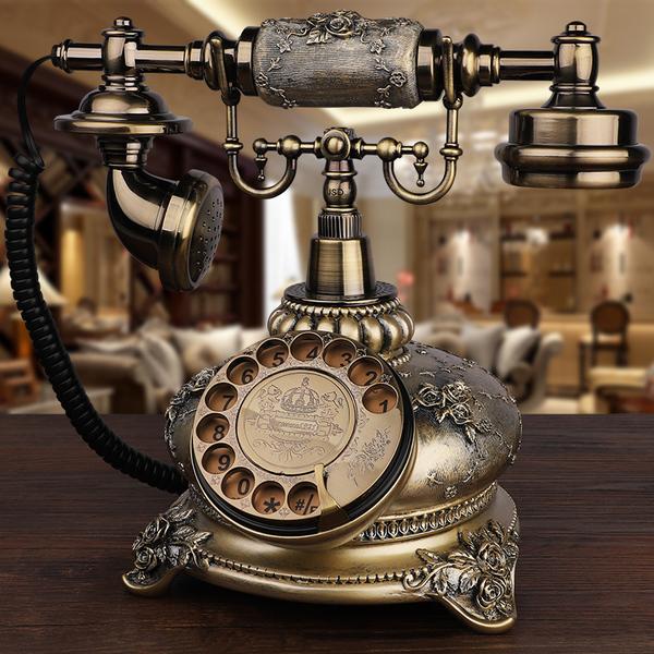 GDIDS仿古电话机欧式复古田园时尚创意无线插卡电话机家用座...
