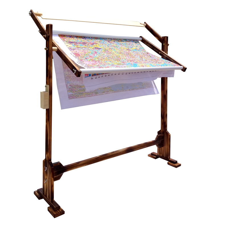 USD 16.36] Roasted color large embroidery frame adjustable solid ...