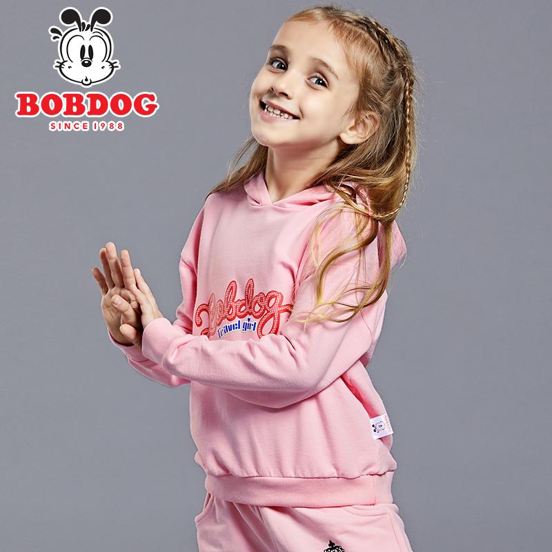 巴布豆童装女童宝宝儿童运动卫衣秋装时尚小童韩版宽松连帽衫女