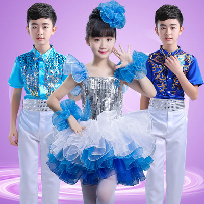 Children modern dance jazz dresses paillette blue pink girls boys school stage performance chorus ballet dresses costumes