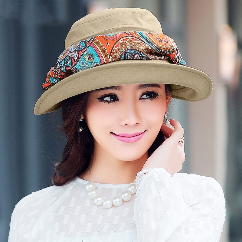 防晒帽子女夏天防晒遮阳帽遮脸防紫外线太阳帽大沿骑车可折叠凉帽