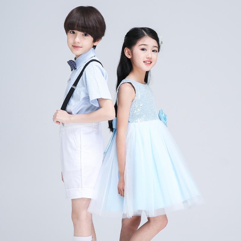 六一儿童节表演服装背带裤合唱服男女童公主裙幼儿园小学生演出服