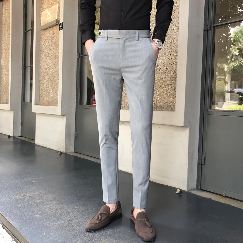 西裤男修身薄款免烫v西裤小脚男士直筒西装裤韩版青少年百搭潮流裤
