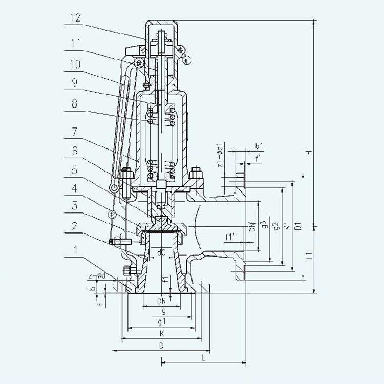 A44Y A48Y Flanged type Spring loaded safety valve design
