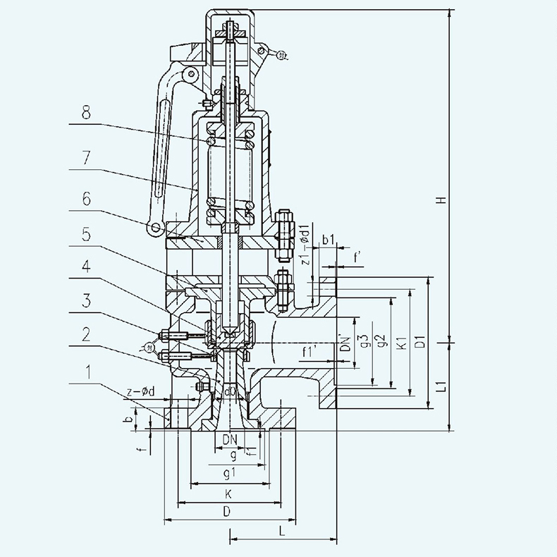 FA48Y FA48SB Flanged type Spring loaded safety valve design
