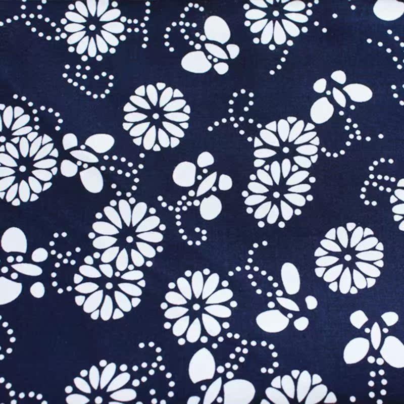 蓝印花布纯棉布料复古风中国民族服装面料布头小碎花桌布青花窗帘