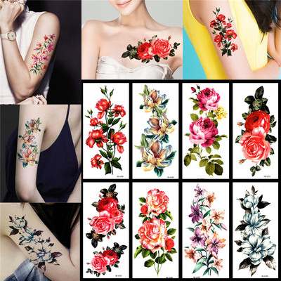 1 set of 8 tattoo stickers waterproof female Korea color flowers cover scars costume photo photo stickers