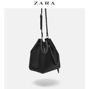 ZARA TRF 女包 黑色铆钉饰束口女单肩手提包水桶包 13200004040