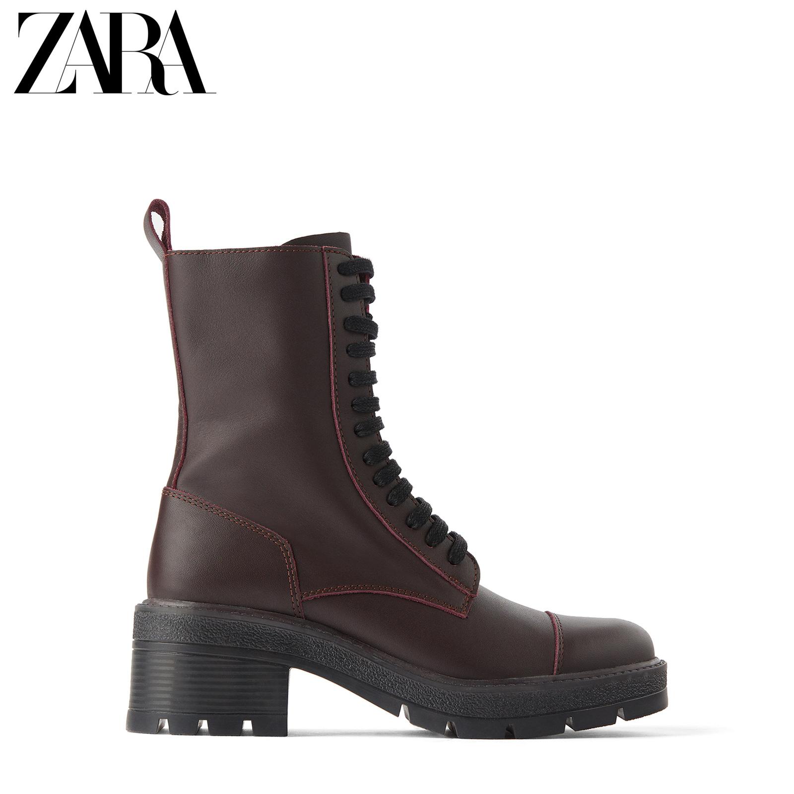 ZARA新款 TRF 女鞋 绛红色绑带牛皮革真皮马丁短靴 13115510022