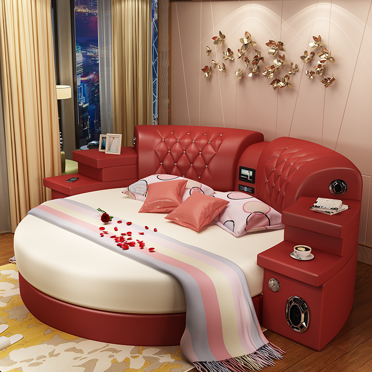 Continental double bed double bed 2 2 meter 2 m main for Round double bed design