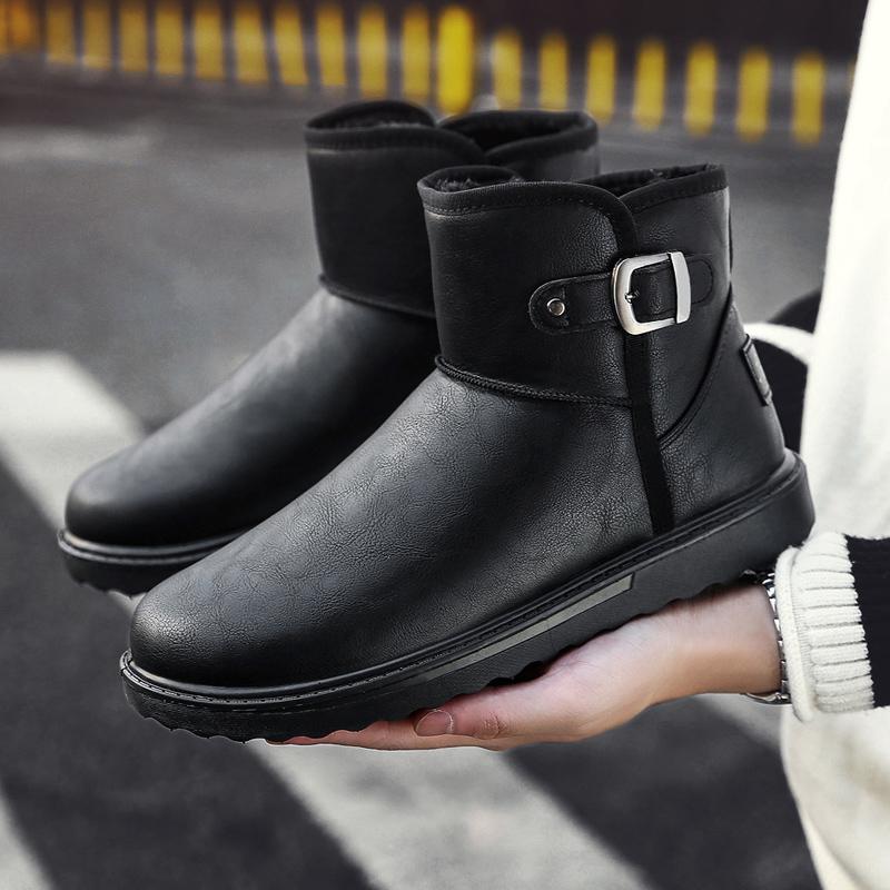 2019潮流冬季保暖加绒防水雪地靴男套筒男短靴加厚棉鞋冬靴面包鞋