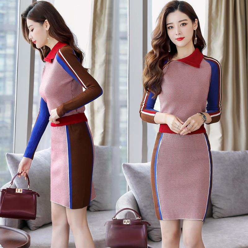 代购2019装新款件套气质女装裙两时尚韩版秋毛衣套装针织包臀裙潮
