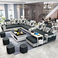 Simple modern fabric sofa Large size living room furniture furniture washable U-shaped sofa set combination
