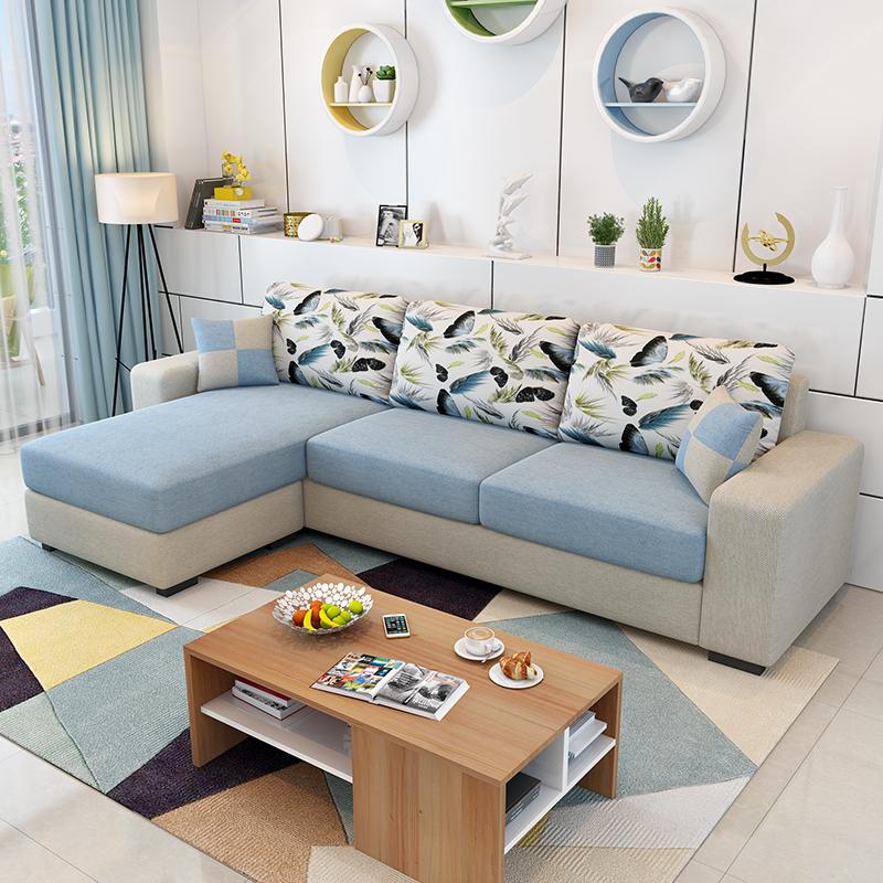 Ткань диван простой современный небольшой квартира диван гостиная мебель съемный три человека ткань диван угол сочетание