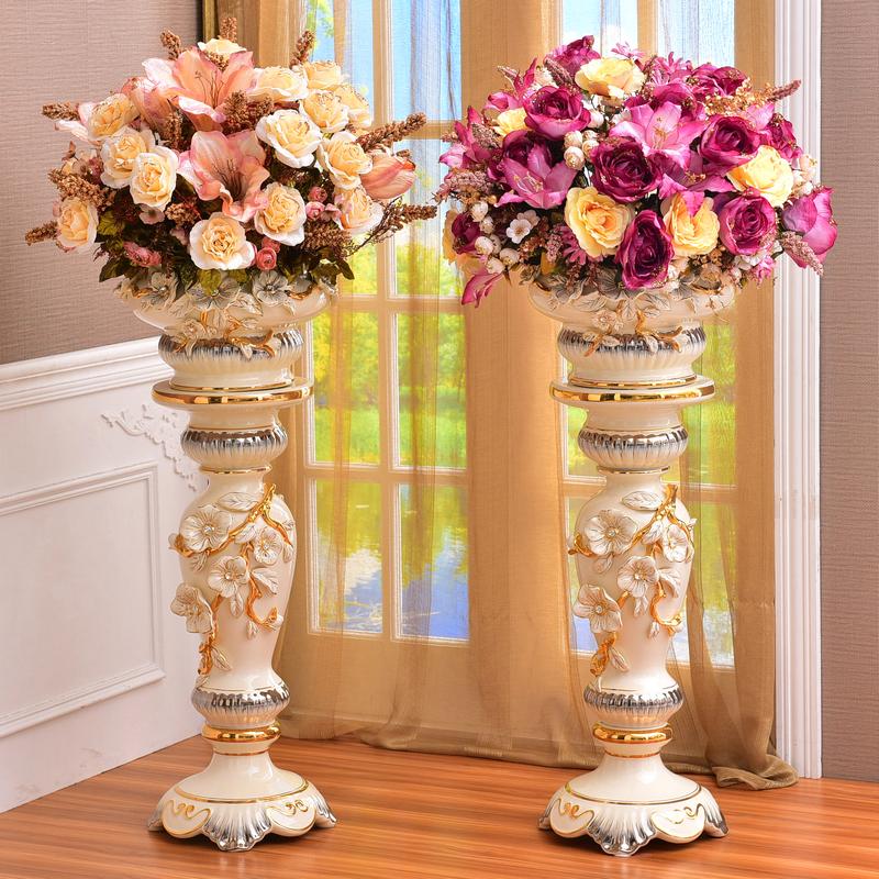 European Floor To Ceiling Vase Large Ornament Ceramic Living Room Furnished With Vase Dry Flower Flower Flower Set High Home Decoration