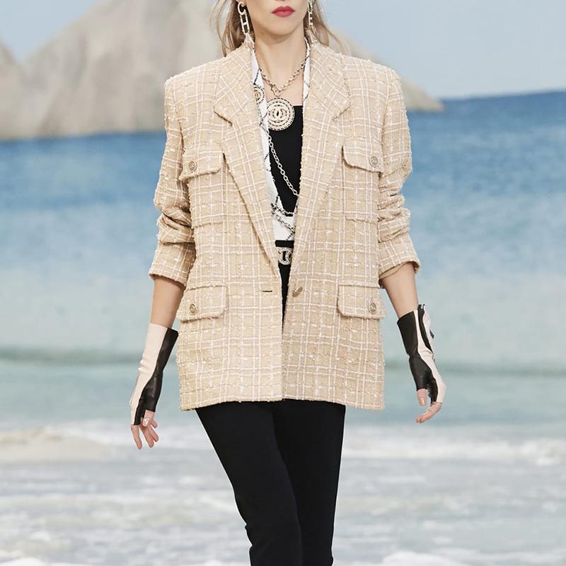 Liu Wen Xin Zhilei ngôi sao với cùng một đoạn nhỏ nước hoa phù hợp với áo khoác nữ mỏng lỏng dệt vải tweed - Accentuated eo áo