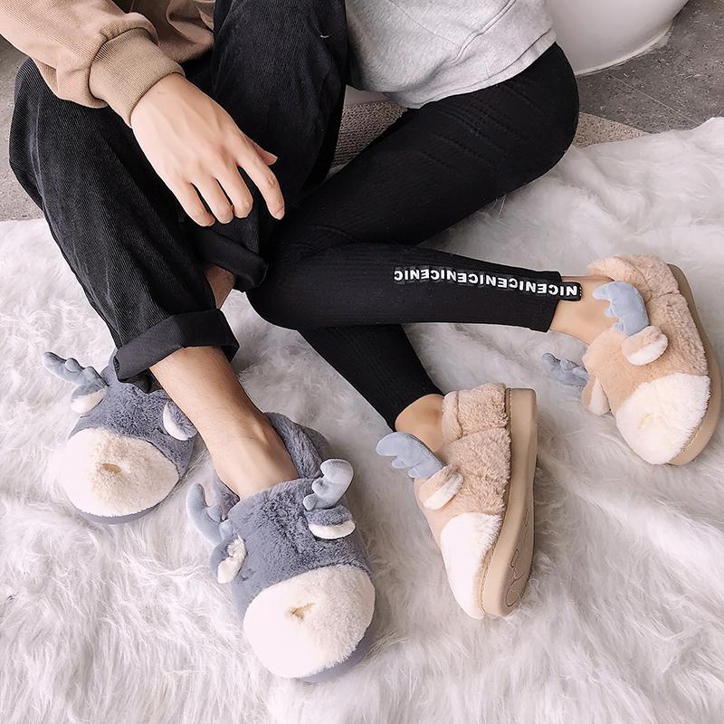 冬季ins网红拖鞋棉月子棉鞋跟男居家室内可爱女包a拖鞋鞋情侣卡通
