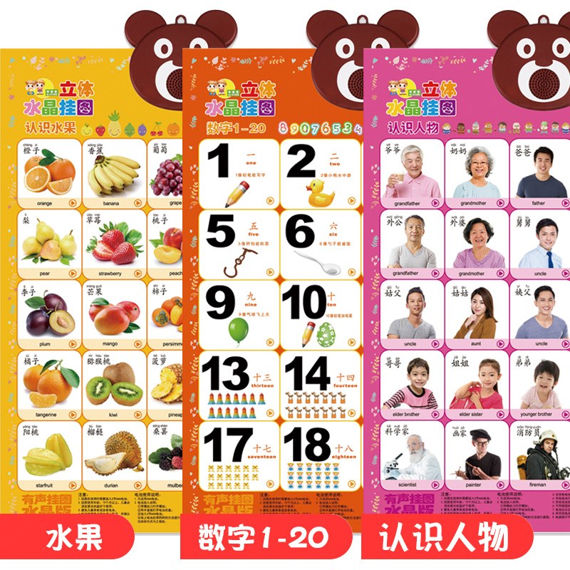 3 Sheets - Fruit - Characters - Number 1-20