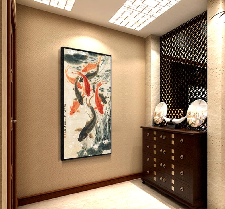 填色画数码油彩画diy数字油画客厅大幅花卉风景风水装饰画九鱼图详情图