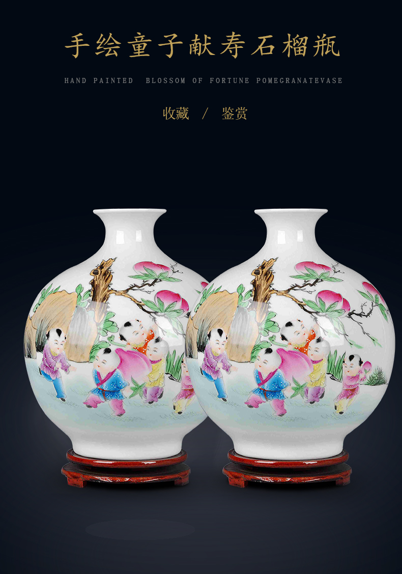 Jingdezhen ceramics new Chinese hand - made famous masterpieces vase household living room TV cabinet decorative furnishing articles flower arrangement