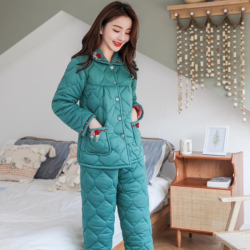 冬季女三層加厚針織夾棉睡衣女秋冬可愛加絨保暖套裝可外穿家居