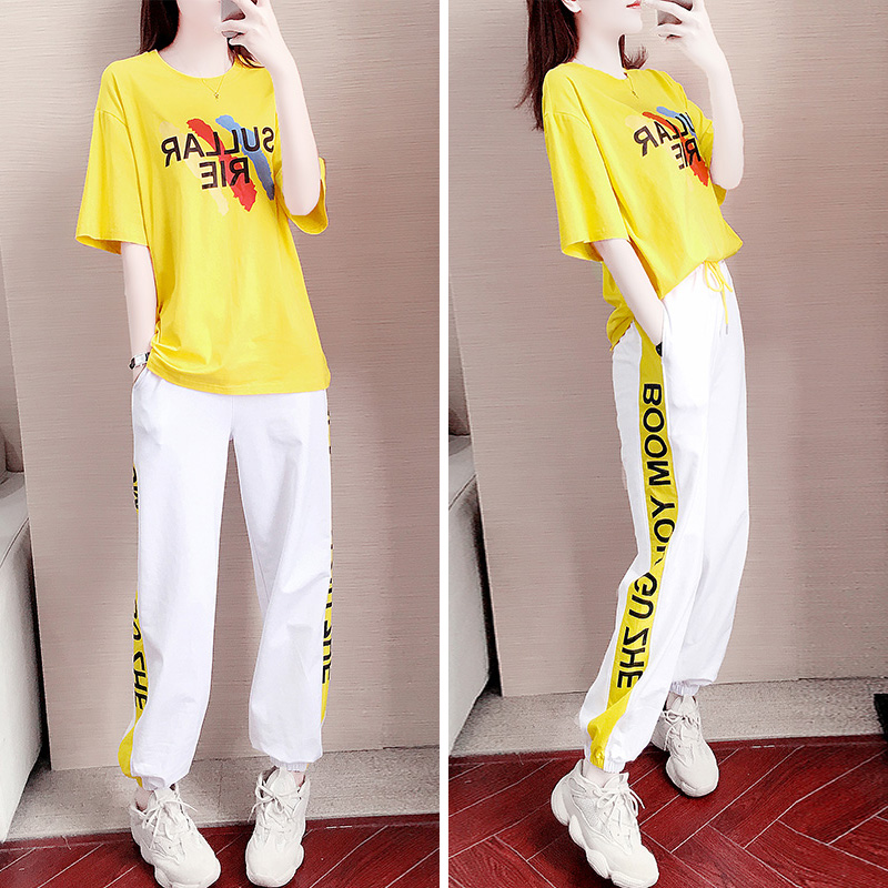 Fashion suit in 2020 women's fashion age reduction show thin temperament sports leisure two piece summer wear new trend