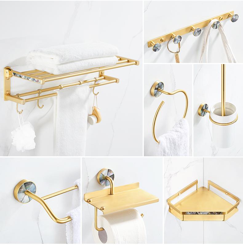 轻奢浴室免打孔浴巾架北欧金色毛巾架化妆室置物用品大全家用全铜详细照片